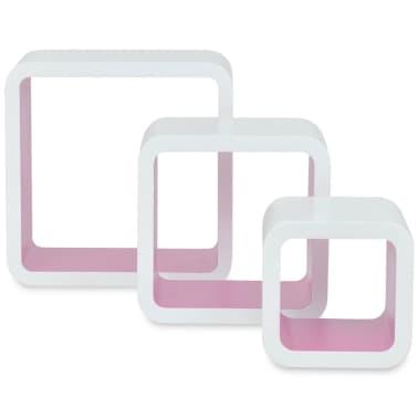 3 White-Pink MDF Floating Wall Display Shelf Cubes Book/DVD Storage[3/7]