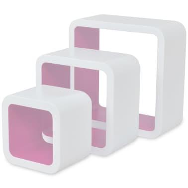 3 White-Pink MDF Floating Wall Display Shelf Cubes Book/DVD Storage[4/7]
