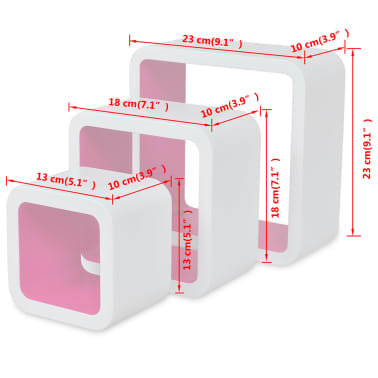 3 White-Pink MDF Floating Wall Display Shelf Cubes Book/DVD Storage[7/7]