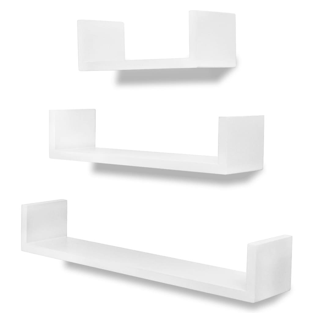 vidaXL Ράφια Τοίχου για Βιβλία/DVD Σχήματος U 3 τεμ. Λευκά από MDF