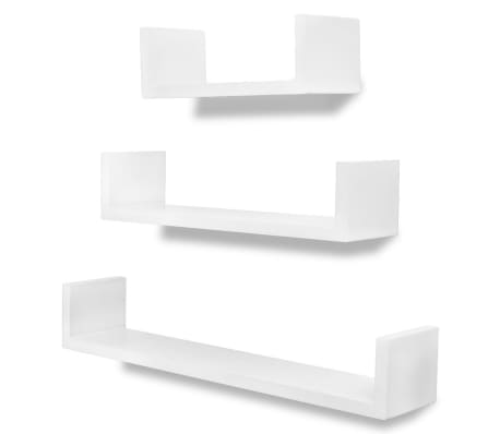 3 White MDF U-shaped Floating Wall Display Shelves Book/DVD Storage