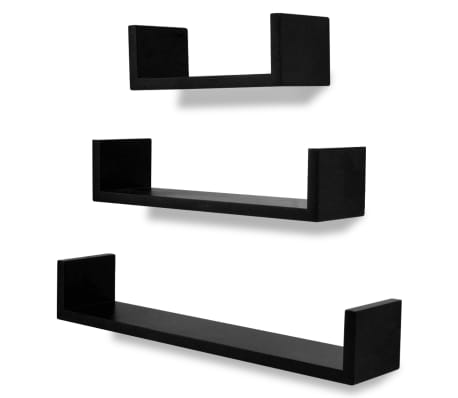 3 Black Mdf U Shaped Floating Wall