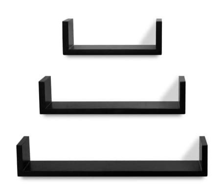 3 Black MDF U-Shaped Floating Wall Display Shelves Book/DVD Storage[4/5]