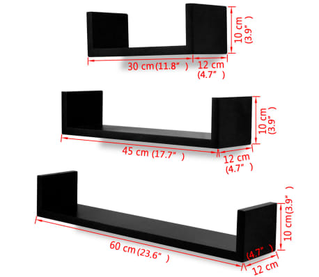 3 Black MDF U-Shaped Floating Wall Display Shelves Book/DVD Storage[5/5]