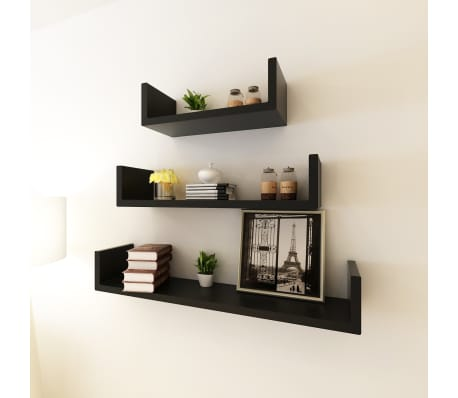 3 Black MDF U-Shaped Floating Wall Display Shelves Book/DVD Storage[1/5]