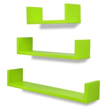 3 db U alakú MDF lebegő polc / könyv, DVD tartó Zöld[2/5]