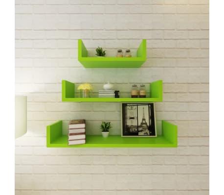 3 db U alakú MDF lebegő polc / könyv, DVD tartó Zöld[4/5]