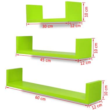 3 db U alakú MDF lebegő polc / könyv, DVD tartó Zöld[5/5]