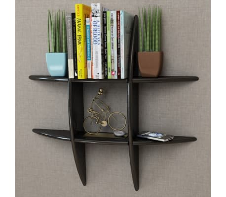 Black MDF Floating Wall Display Shelf Book/DVD Storage[1/4]
