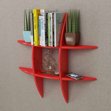Red MDF Floating Wall Display Shelf Book/DVD Storage[1/4]