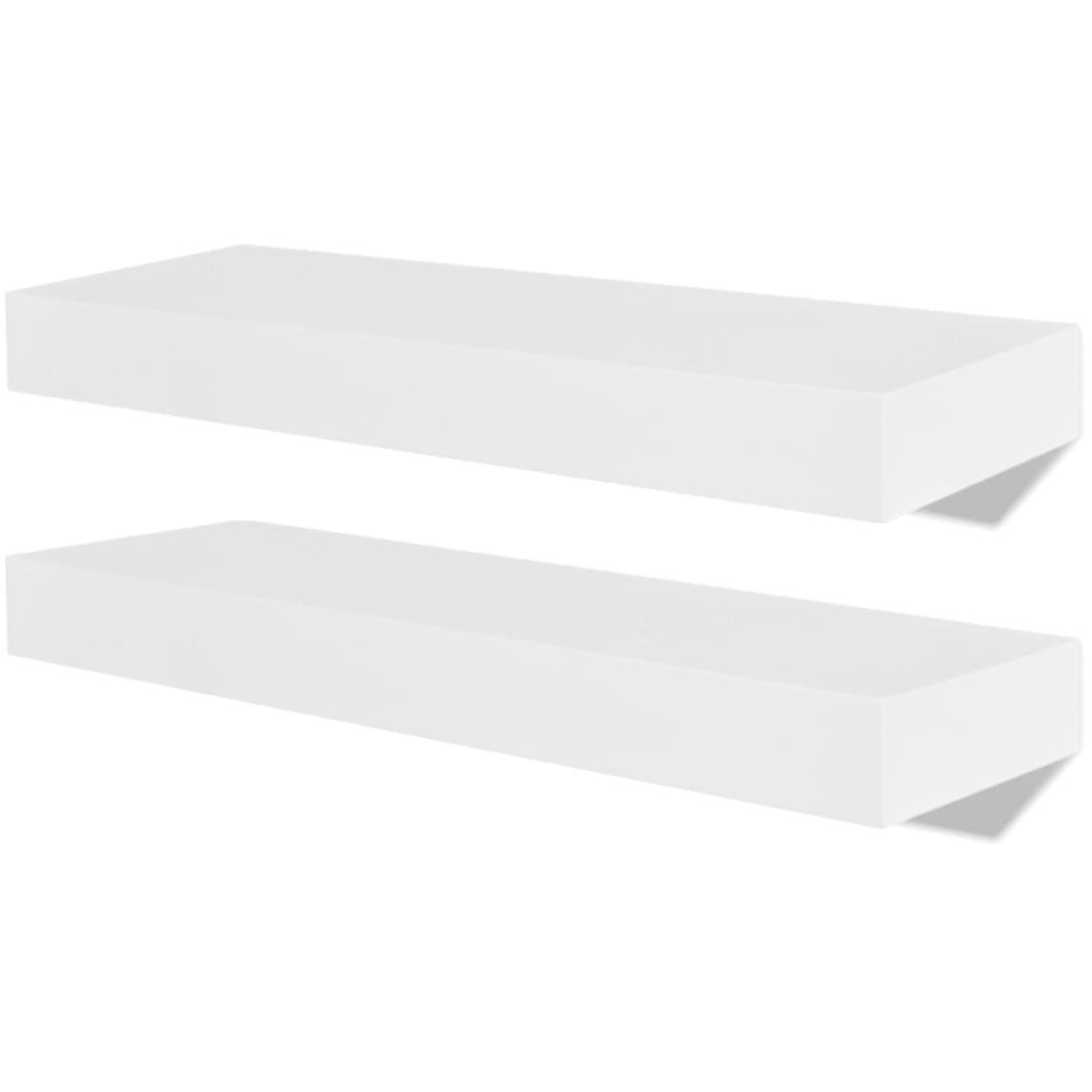 vidaXL Ράφια Τοίχου για Βιβλία/DVD 2 τεμ. Λευκά από MDF