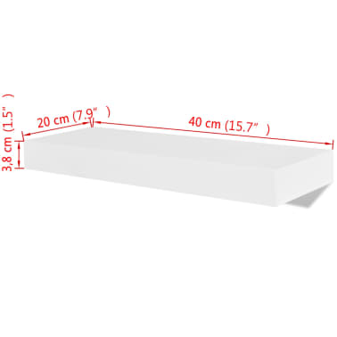 2 White MDF Floating Wall Display Shelves Book/DVD Storage[5/5]