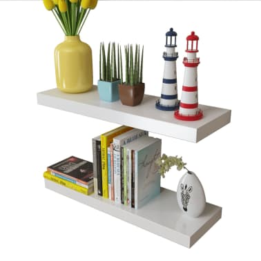 vidaXL Floating Wall Display Shelves Book/DVD Storage White MDF 2 pcs[3/5]