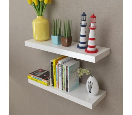 vidaXL Floating Wall Display Shelves Book/DVD Storage White MDF 2 pcs[1/5]