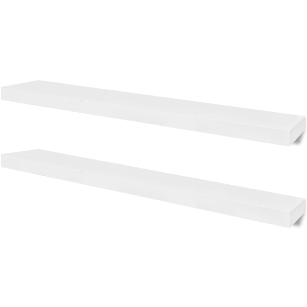 vidaXL Ράφια Τοίχου για Βιβλία/DVD 2 τεμ. Λευκά 100 x 20 x 3,8 εκ. από MDF