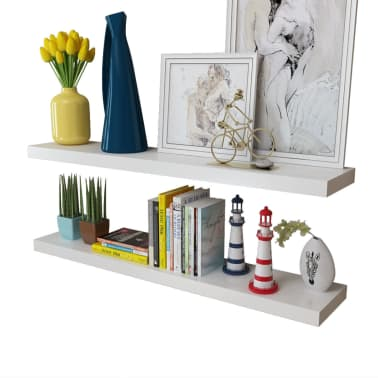 2 White MDF Floating Wall Display Shelves Book/DVD Storage[3/5]