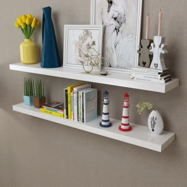 2 White MDF Floating Wall Display Shelves Book/DVD Storage[1/5]