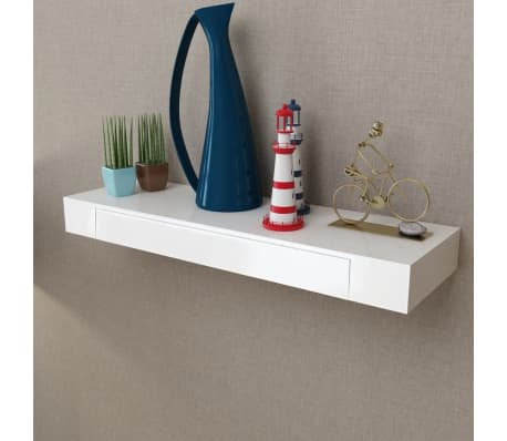 White MDF Floating Wall Display Shelf 1 Drawer Book/DVD Storage[3/6]