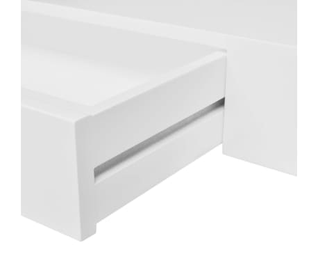 White MDF Floating Wall Display Shelf 1 Drawer Book/DVD Storage[5/6]