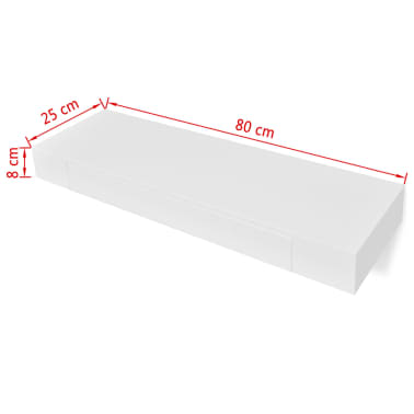 White MDF Floating Wall Display Shelf 1 Drawer Book/DVD Storage[6/6]