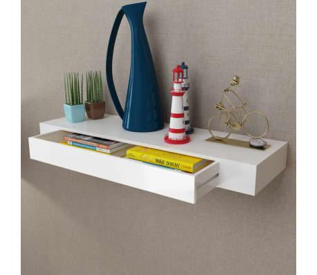 mdf wandregal b cher dvd regal h ngeregal mit 1 schublade. Black Bedroom Furniture Sets. Home Design Ideas