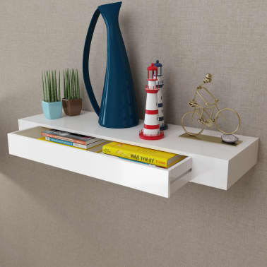 White MDF Floating Wall Display Shelf 1 Drawer Book/DVD Storage[1/6]