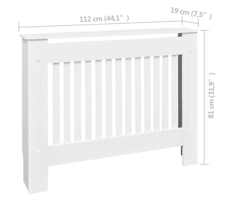 White MDF Radiator Cover Heating Cabinet 112 cm[4/4]