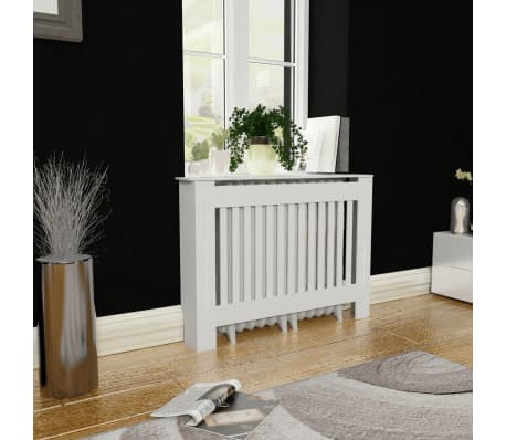 White MDF Radiator Cover Heating Cabinet 112 cm[1/4]