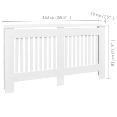 "White MDF Radiator Cover Heating Cabinet 60""[4/4]"