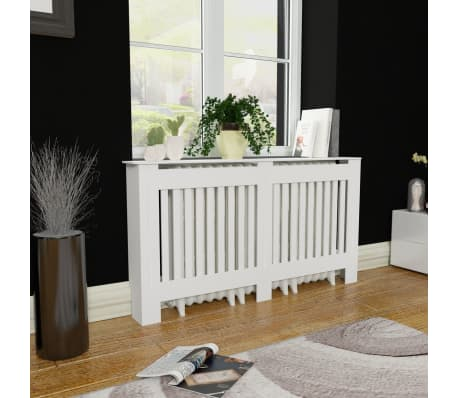 "White MDF Radiator Cover Heating Cabinet 60""[1/4]"