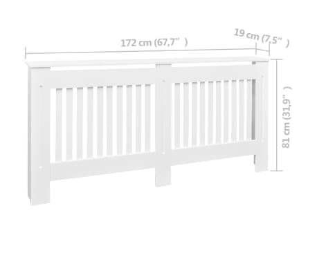 White MDF Radiator Cover Heating Cabinet 172 cm[4/4]