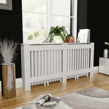 White MDF Radiator Cover Heating Cabinet 172 cm[1/4]