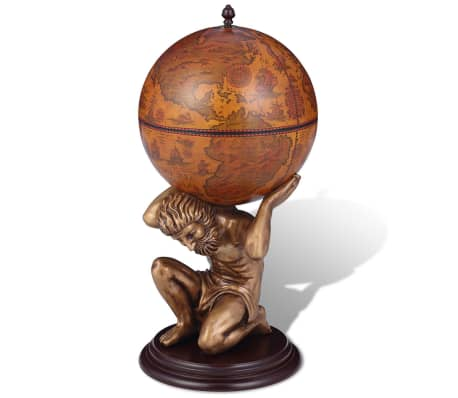 "vidaXL Globe Bar Wine Stand Atlas Design 16.5""x16.5""x33.5"""