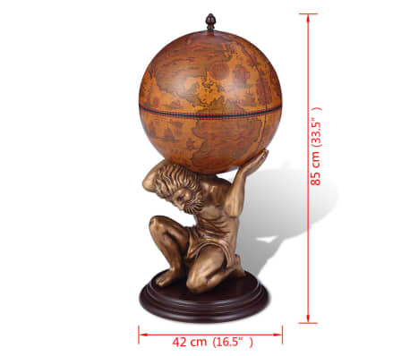 "vidaXL Globe Bar Wine Stand Atlas Design 16.5""x16.5""x33.5""[7/7]"