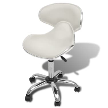 Professional Salon Spa Stool with Backrest Curved Design White[1/5]