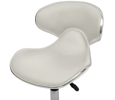 Professional Salon Spa Stool with Backrest Curved Design White[4/5]