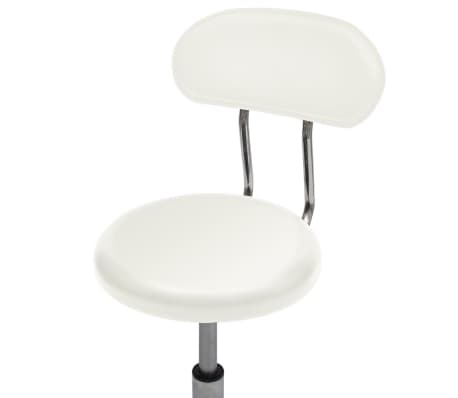 Professional Salon Spa Stool Round Seat with Backrest White[4/4]
