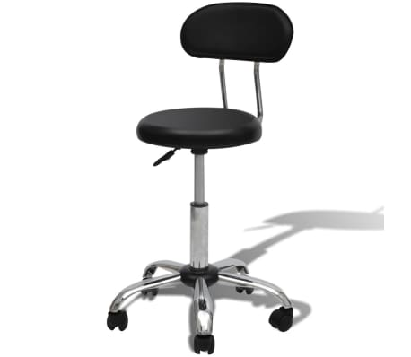 Professional Salon Spa Stool Round Seat with Backrest Black[1/4]
