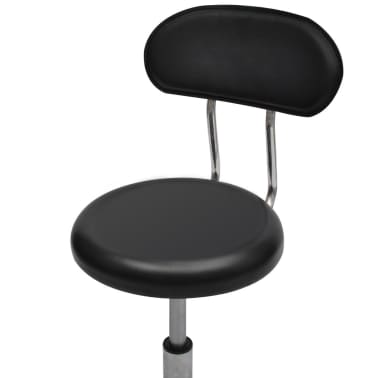 Professional Salon Spa Stool Round Seat with Backrest Black[4/4]