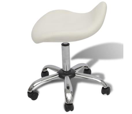 Professional Salon Spa Stool Swivel White Curved Design[4/6]