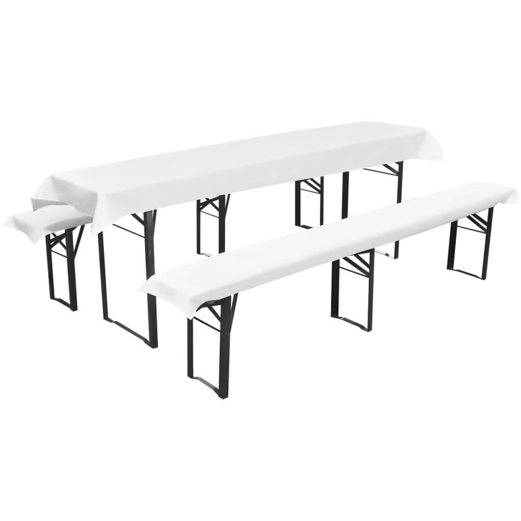 Potah na pivní stůl a 2 polstrované potahy na lavičky bílá 240x90 cm