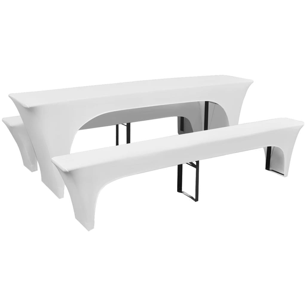 99130792 3 Schonbezüge für Biertisch und Bänke Stretch Weiß 220 x 50 x 80 cm