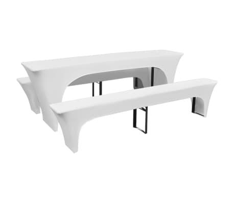 3 Schonbezüge für Biertisch und Bänke Stretch Weiß 220 x 50 x 80 cm[1/2]