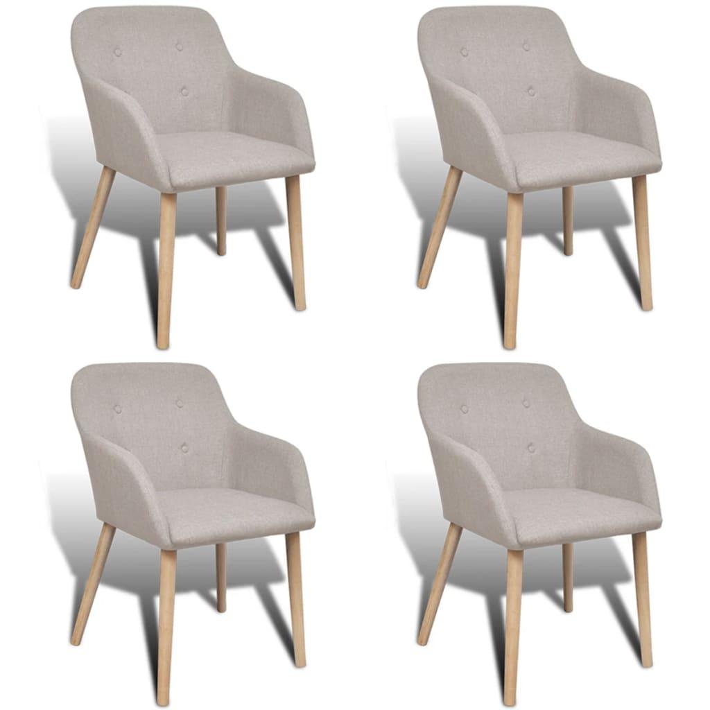 vidaXL Jídelní židle 4 ks dubový rám a textil