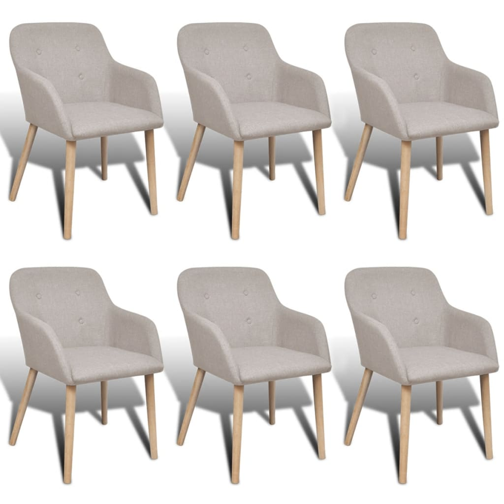 vidaXL Jídelní židle 6 ks dubový rám a textil