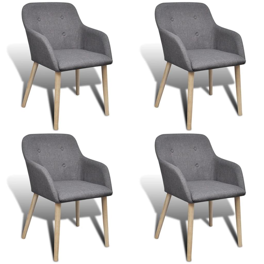 vidaXL Καρέκλες Τραπεζαρίας 4 τεμ. Υφασμάτινες / Δρύινος Σκελετός