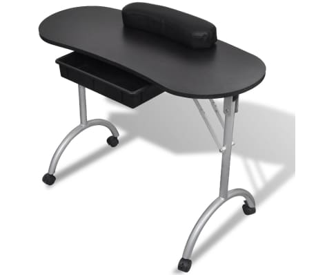 Black Foldable Manicure Nail Table with Castors[1/6]