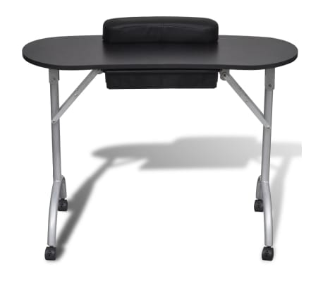 Black Foldable Manicure Nail Table with Castors[2/6]