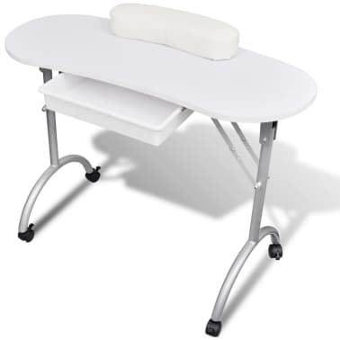 White Foldable Manicure Nail Table with Castors[1/6]