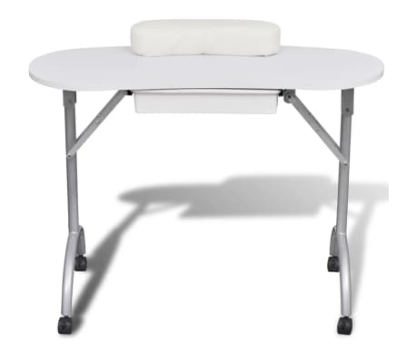 White Foldable Manicure Nail Table with Castors[2/6]